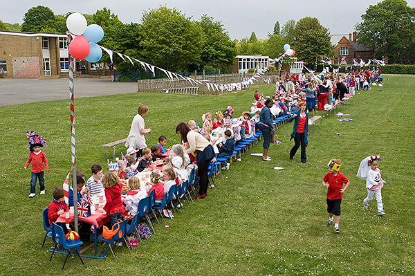 "Children at Hextable Primary School have a ""Street Party"" in honour of the Royal Wedding. April 28, 2011. Photo © Michael Cockerham"
