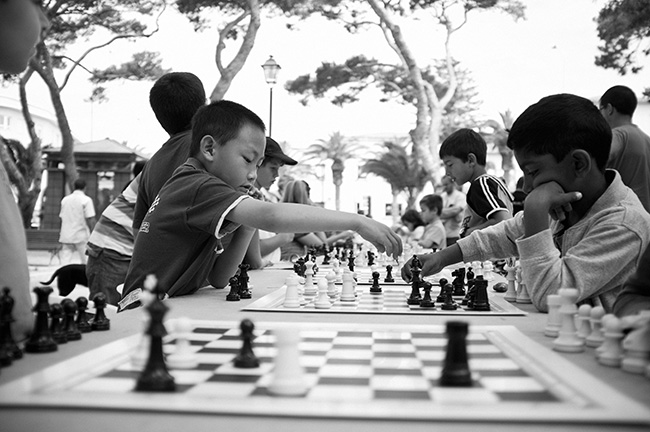 Childrens' outdoor chess competition.