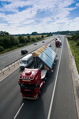 Once out of Poole the roof sections head for London on the M27.