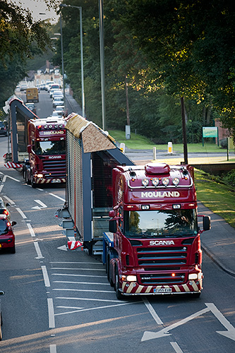The convoy had to leave the M3 at junction 3 and go across country to avoid a low bridge on the motorway.