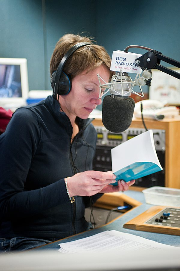 Julia George looks through Phineas' Friends while interviewing me for her show on BBC Radio Kent