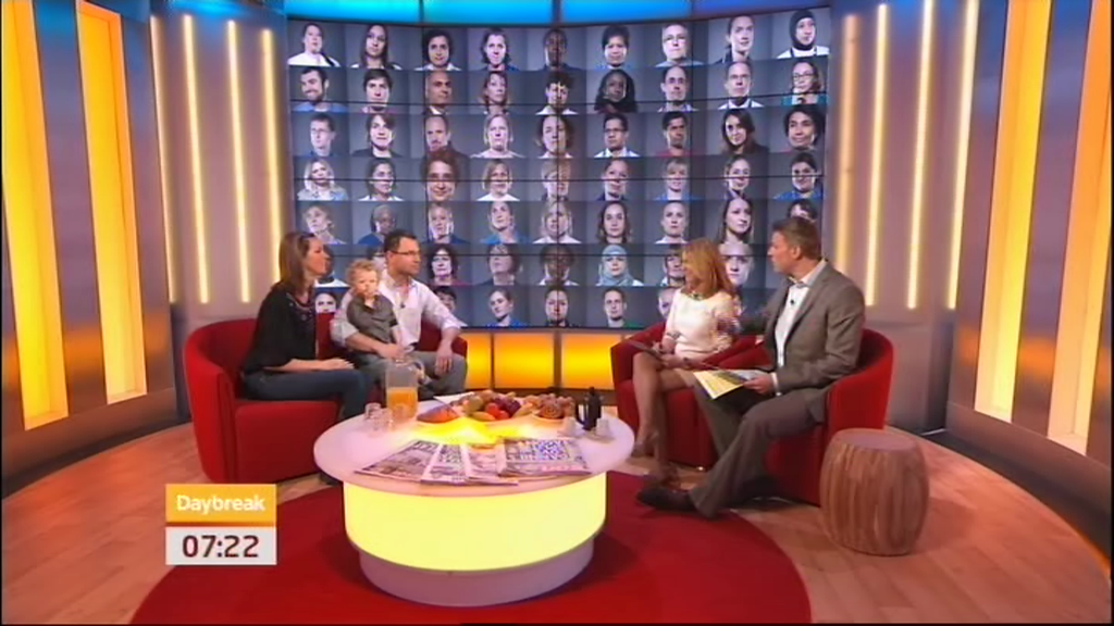 With Phineas and my wife, Laura, on ITV's national Daybreak programme.