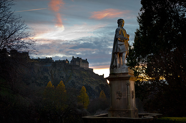 Edinburgh at dusk, seeking inspiration.