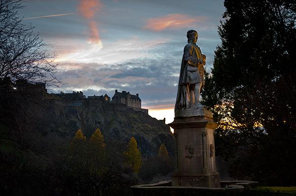 Edinburgh at dusk, seeking inspiration.