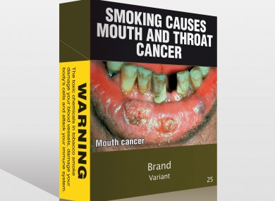 "Intended ""plain"" cigarette packaging as currently sold in Australia."