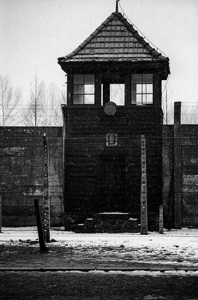 Watchtower and barbed wire. Auschwitz. Photo: © Michael Cockerham 1993.